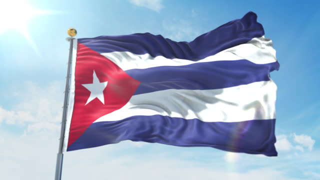 Cuba flag waving in the wind against deep blue sky. National theme, international concept. 3D Render Seamless Loop 4K Cuba flag waving in the wind against deep blue sky. National theme, international concept. 3D Render Seamless Loop 4K allegory painting stock videos & royalty-free footage