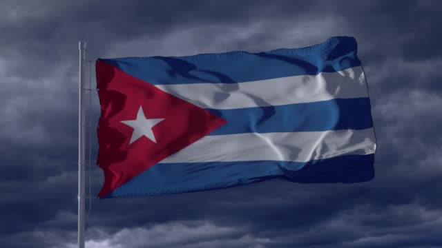 Cuba flag waving in the wind. Realistic flag background. Thundercloud background
