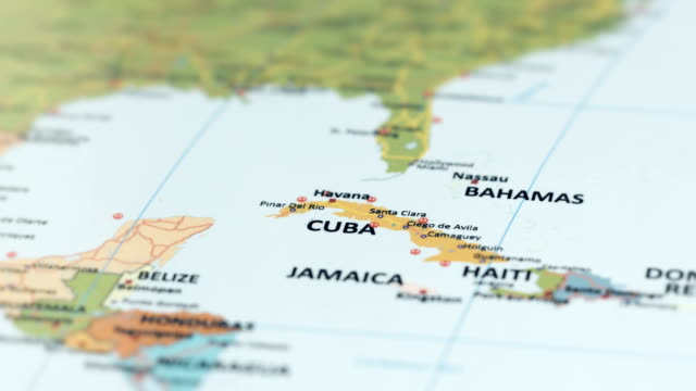 north america cuba on world map - sud est video stock e b–roll
