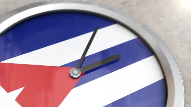 vídeos de stock e filmes b-roll de cuban flag clock timelapse - climate clock