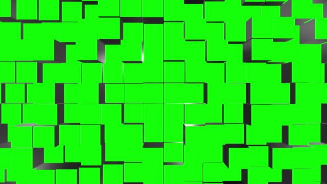 vídeos de stock e filmes b-roll de cube assemble green screen transitions - logo