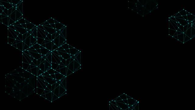 stockvideo's en b-roll-footage met kubus vak isometrische patroon ontwerp illustratie blauw groene kleur, dot omtrek lijn animatie 4k op zwarte achtergrond, met kopie ruimte - isometric
