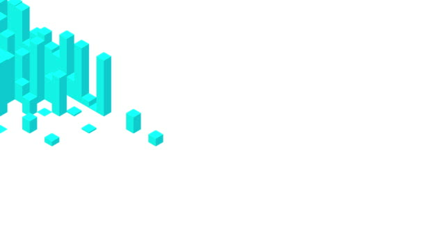stockvideo's en b-roll-footage met cube box square bar 3d virtuele isometrische shuffle wave patroon, blockchaintechnologie concept ontwerp illustratie blauwe kleur op witte achtergrond animatie 4k, met kopieer ruimte - isometric
