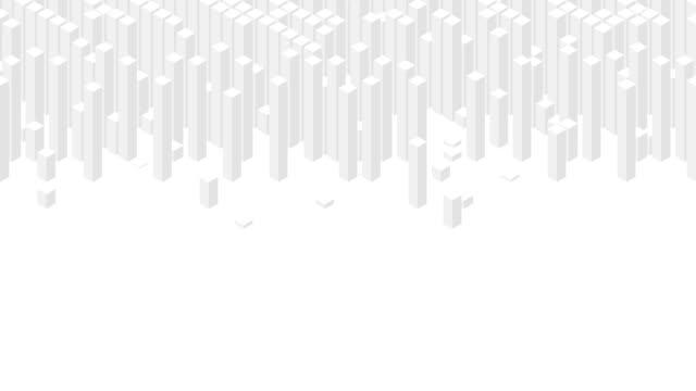 vidéos et rushes de cube box carré bar 3d virtual isometric shuffle wave pattern, blockchain technology concept design illustration grey color on white background animation 4k, with copy space - cube