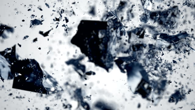Cube explosion in slow motion video