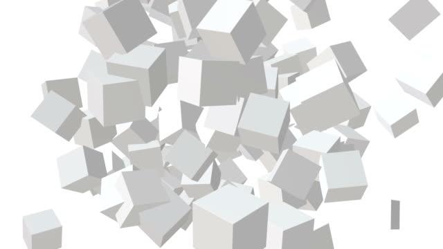 キューブ ブロック。ビッグデータの概念を組み立てる。チームワーク事業 - 立方体点の映像素材/bロール