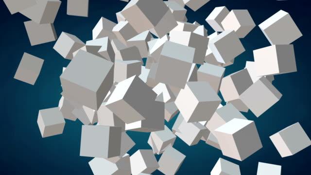 cubes block. assembling big data concept. - klocek filmów i materiałów b-roll