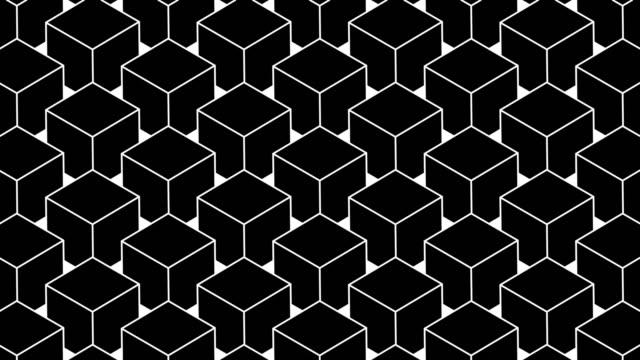 vídeos de stock e filmes b-roll de 3d cubes rotating in loop - geometric patterns