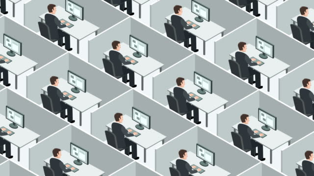 Cubicle enclosed office workspace.  Identical business people hard works on the computer Office Workplace Animation office cubicle stock videos & royalty-free footage