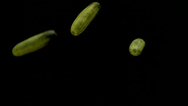 cucumber flying and falling slow motion. - cetriolo video stock e b–roll