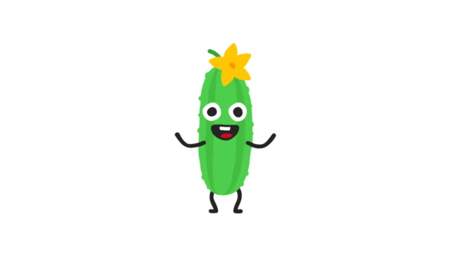 cucumber funny character dances and smiles. loop animation. alpha channel. - cetriolo video stock e b–roll