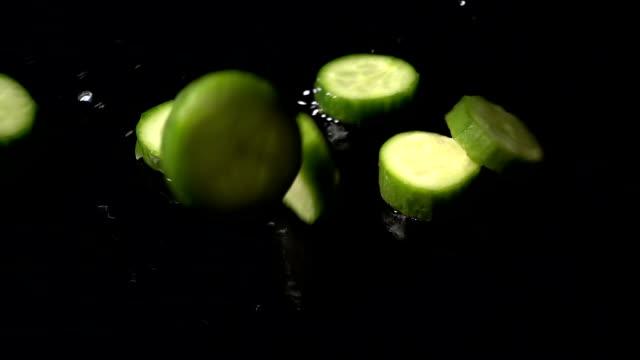 Cucumber Slices Splashing video