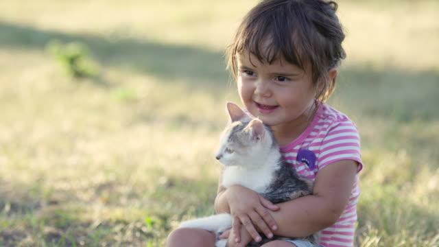 cuddling a new kitten - bambino cane video stock e b–roll
