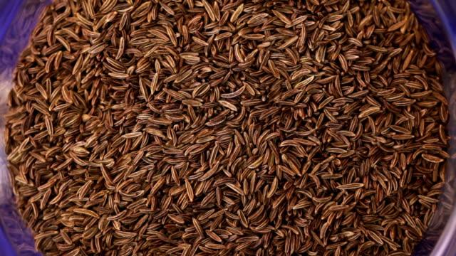 Cumin spice. Kitchen herbs background video