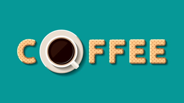 Cup of coffee and cookies Cup of coffee and cookies in form of letters are appearing and forming together the word