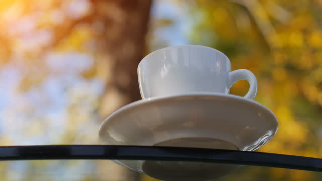 A cup of fresh hot drink on table with real steam on it, outdoors in autumn