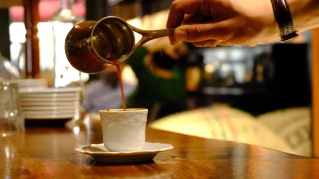 cup of traditional turkish coffee - cultura turca video stock e b–roll