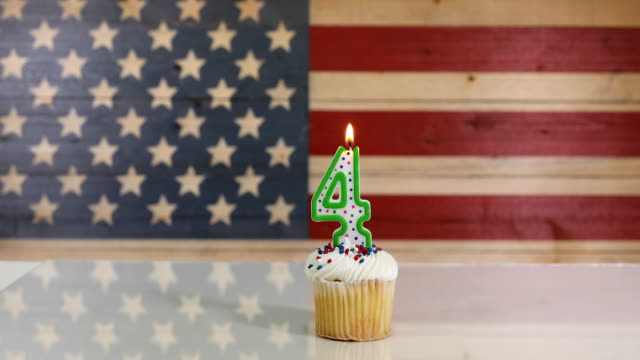 Cupcake with candle for July 4th Holiday video
