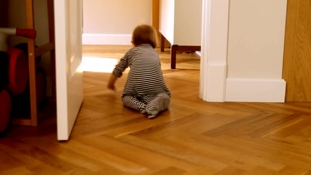 Curios child in bodysuit crawling from room Back view of adorable kid exploring world crawling around at home crawling stock videos & royalty-free footage