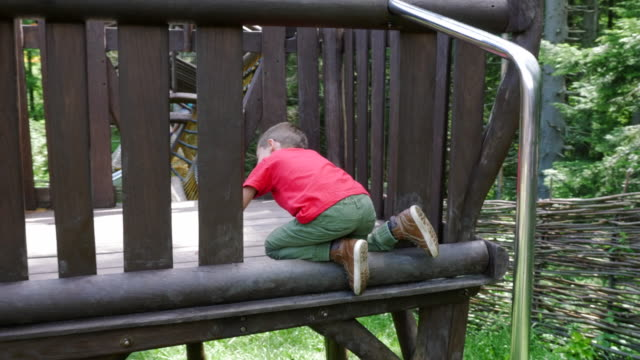 Curious active boy climbing in adventure park on a summer sunny day video