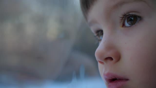 好奇心旺盛な少年の顔。若い男の子のポジティブな感情。電車のコンセプトで旅。真剣な顔をした子供の目。列車で日の出に会う。走っている風景の窓越しに見る茶色の瞳 - 乗客点の映像素材/bロール