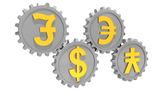 valuta ingranaggi - simbolo della sterlina video stock e b–roll