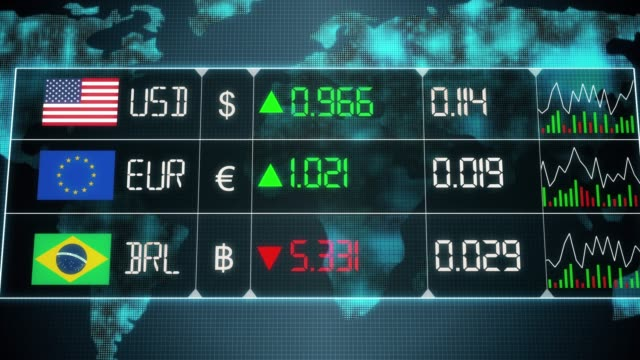 Currency market with evolution of Brazilian Real, Euro, US dollar currencies with up and downs. Green and red digital animation of prices in the world, with financial and ecomonic crisis