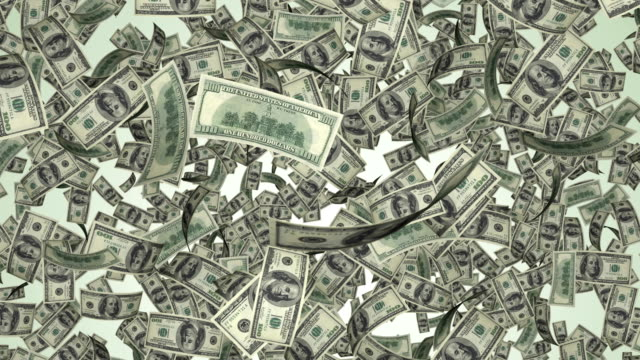 Currency Money dollar Flying Down- 4k video- a lot of notes flying down with alpha background Banknotes flow flying from the top down, dollars falling from the sky us paper currency stock videos & royalty-free footage