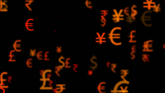 4K currency names and symbols moving in seamless loop video