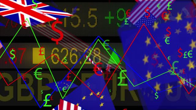 4K símbolos de moneda y banderas con una pizarra LED - vídeo