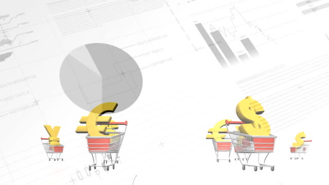 Currency symbols in shopping cart against Financial data processing