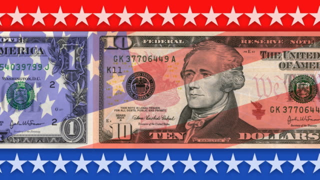 US Currency with USA Flag video