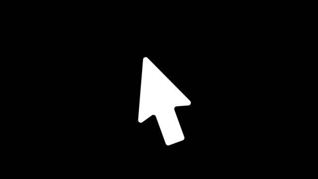 cursor-symbol-animation mit schwarzem hintergrund. icon-design. videoanimation. 4k. - computermaus stock-videos und b-roll-filmmaterial