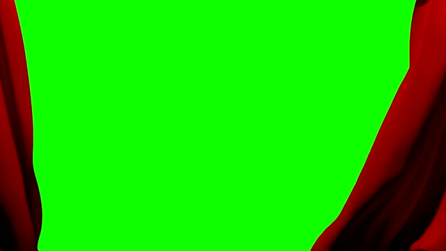 Curtains opening and closing stage theater cinema red green screen key video