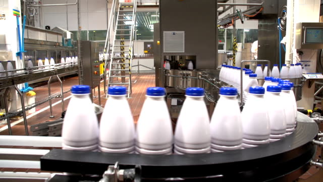 A curvy riding conveyer line with milk bottles at a modern dairy product plant video