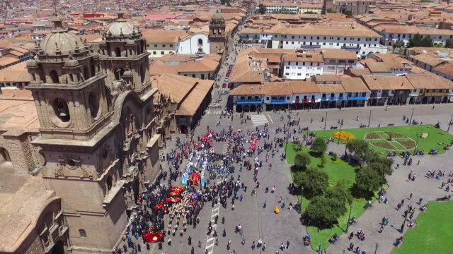 cusco cathedral aerial drone rooftop view - peru filmów i materiałów b-roll