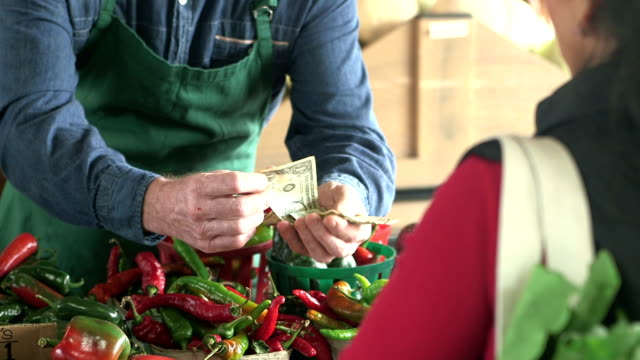 vídeos de stock e filmes b-roll de customer at produce stand paying cash for tomatoes - atividade comercial