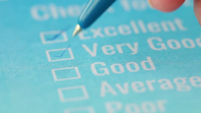 Customer checklist survey exellent form for feedback satisfaction mark over application blue forms document with black pencil. Opinion question botton for filling checkmark for business