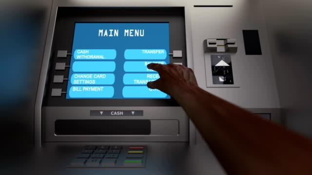 Customer insert card in the atm and check balance video