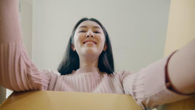 customer open parcel post box and picking object - confezione video stock e b–roll