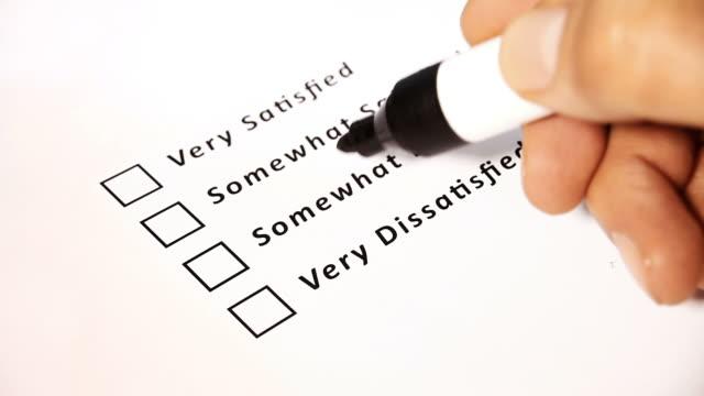 Customer Satisfaction Survey Ticking Very Dissatisfied video