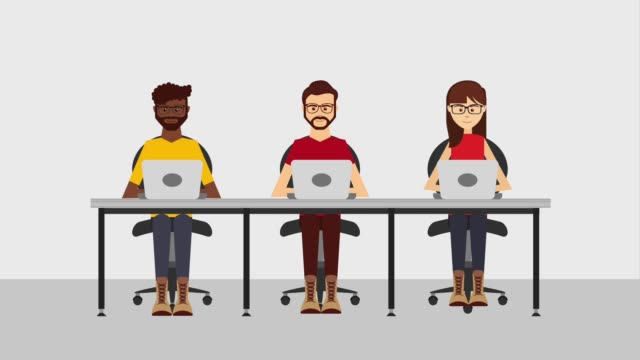 customer service animation hd people team working with laptops customer service animation hd office illustrations videos stock videos & royalty-free footage