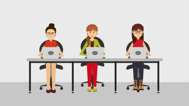 customer service animation hd group people women with laptop in desk customer service animation hd office illustrations videos stock videos & royalty-free footage