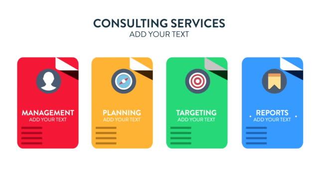 personalizzazione promo-concetto di servizi di consulenza - immagine video stock e b–roll