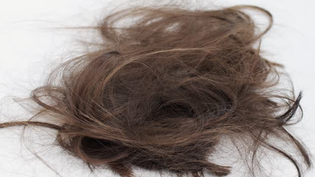 Cut Brown Hair Falls To The White Floor Close-up. Falling Hair On White Background During Haircut In Beauty Salon. Change Hairstyle And Hair Care Concept Falling Hair On White Background During Haircut In Beauty Salon. Change Hairstyle And Hair Care Concept hairstyle stock videos & royalty-free footage