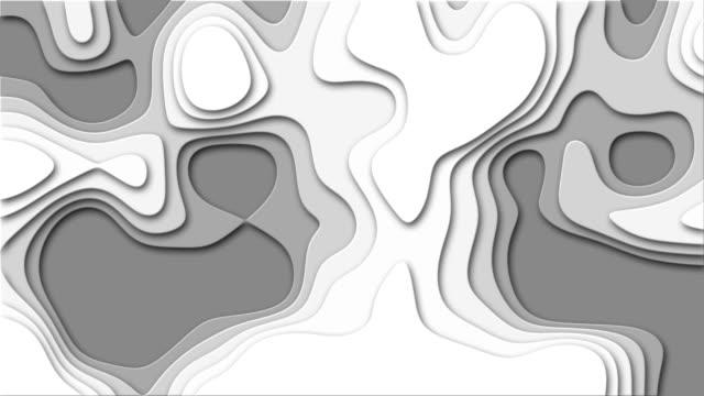 klipp ut papper vågor abstrakt grå skalan formar animation (4k) - topografi bildbanksvideor och videomaterial från bakom kulisserna