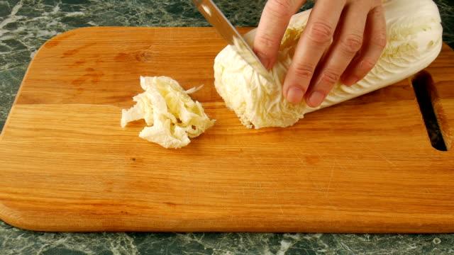 vídeos de stock e filmes b-roll de cut peking cabbage. - crucíferas