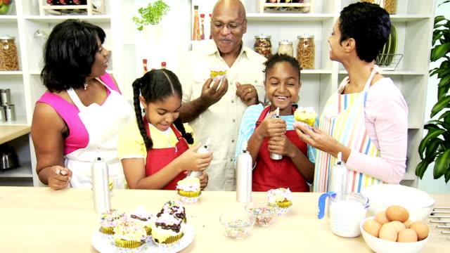 Cute African American Girls Fun Baking Home Kitchen video