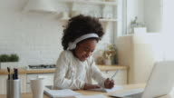 istock Cute african school girl elearning with online tutor at home 1220762191