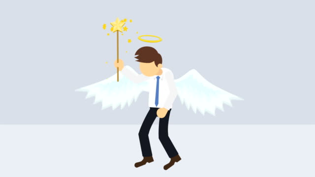 Cute angel illustration. Love & peace. Business character. Cosplay. Abstract loop animation.